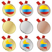 Colombia vector flag in medal shapes — 图库矢量图片