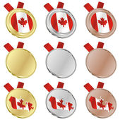 Canada vector flag in medal shapes — Stockvektor