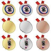 Belize vector flag in medal shapes — Stock Vector