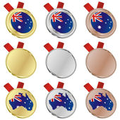 Australia vector flag in medal shapes — 图库矢量图片