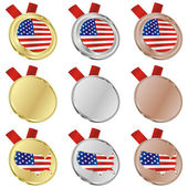 America vector flag in medal shapes — Wektor stockowy