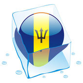 Barbados button flag frozen in ice cube — Stock Vector