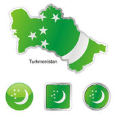 Turkmenistan in map and internet buttons — Stock Vector