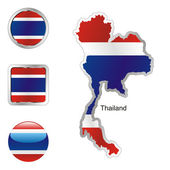 Thailand in map and internet buttons — Stock Vector