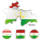Tajikistan in map and internet buttons — Stock Vector