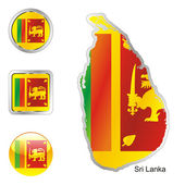 Sri lanka in map and internet buttons — Stock Vector