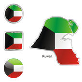 Kuwait in map and internet buttons shape — Stock Vector