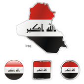 Iraq in map and internet buttons shape — Stock Vector
