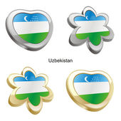 Uzbekistan flag in heart and flower shap — Stock Vector