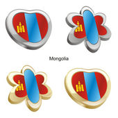 Mongolia flag in heart and flower shape — ストックベクタ