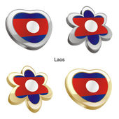 Laos flag in heart and flower shape — Stock Vector