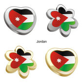 Jordan flag in heart and flower shape — Stock Vector
