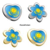 Kazakhstan flag in heart and flower shap — Stock Vector