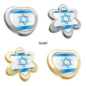 Israel flag in heart and flower shape — Stock Vector