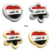 Iraq flag in heart and flower shape — Stock Vector