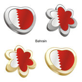 Bahrain flag in heart and flower shape — Stock Vector