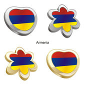 Armenia flag in heart and flower shape — Stock Vector