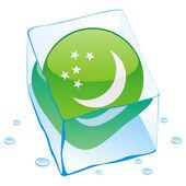 Turkmenistan button flag frozen in ice c — Stock Vector