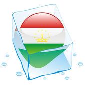 Tajikistan button flag frozen in ice cub — Stock Vector