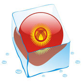 Kyrgyzstan button flag frozen in ice cub — Stock Vector