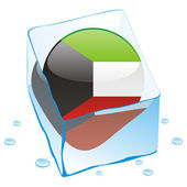 Kuwait button flag frozen in ice cube — Stock Vector