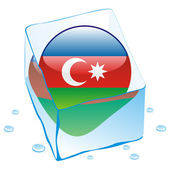 Azerbaijan button flag frozen in ice cub — Stock Vector