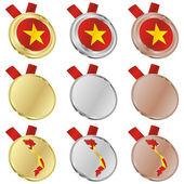 Vietnam-Vektor-Flag in Medaille Formen — Stockvektor