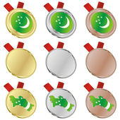 Turkmenistan vector flag in medal shapes — Stock Vector
