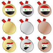 Syria vector flag in medal shapes — ストックベクタ