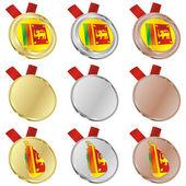 Bandiera vettoriale di sri lanka in forme medaglia — Vettoriale Stock