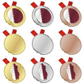 Qatar vector flag in medal shapes — 图库矢量图片