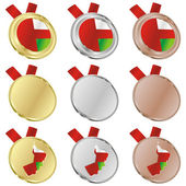 Oman vector flag in medal shapes — Stock Vector
