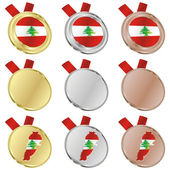 Lebanon vector flag in medal shapes — ストックベクタ