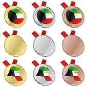 Kuwait vector flag in medal shapes — Stock Vector