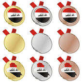 Iraq vector flag in medal shapes — Stock Vector