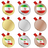Iran vector flag in medal shapes — Cтоковый вектор