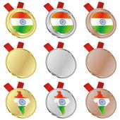 India vector flag in medal shapes — Stock Vector