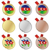 Azerbaijan vector flag in medal shapes — Stock Vector