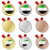 Afghanistan vector flag in medal shapes — Vettoriale Stock