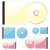 Isolated colored CDs and cases — Stock Vector