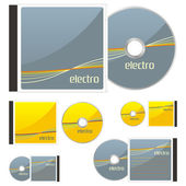 Colored CDs and cases with electro layou — Stock Vector