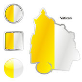 Vatican in map and web buttons shapes — Stock Vector