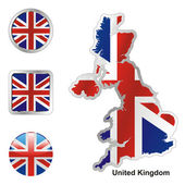 United kingdom in map and web buttons sh — Stock Vector