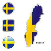 švédsko v mapě a webových tlačítek tvarů — Stock vektor
