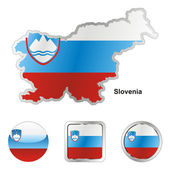 Slovenia in map and web buttons shapes — Stock Vector
