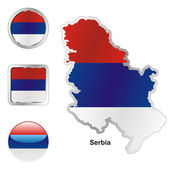 Serbia in map and web buttons shapes — Stock Vector