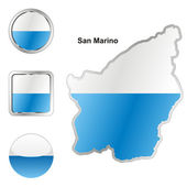 San marino in map and web buttons shapes — Stock Vector