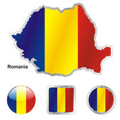 Romania in map and web buttons shapes — Stock Vector