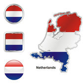 Netherlands in map and web buttons shape — Stock Vector