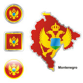 Montenegro in map and web buttons shapes — Stock Vector